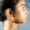 Rose red agate Earrings Side