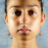 South American orange Topaz Earrings Front