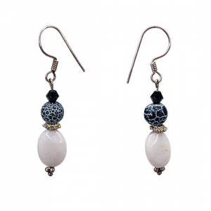 White and fire crackle black Agate Earrings