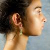 Yellow jade Earrings Side