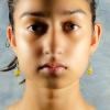 Yellow jade Earrings Front